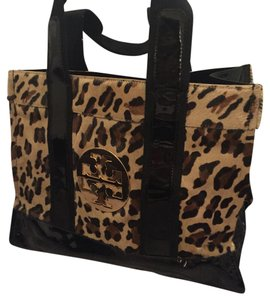 Tory Burch Tote in Leapord And Black Patent Leather