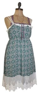 Anthropologie short dress GREEN Lace Aceent Printed Summer on Tradesy