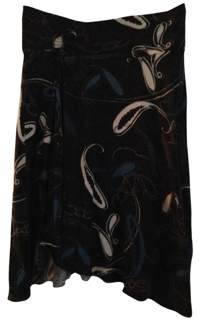 Express Skirt Black with blue and grey pattern