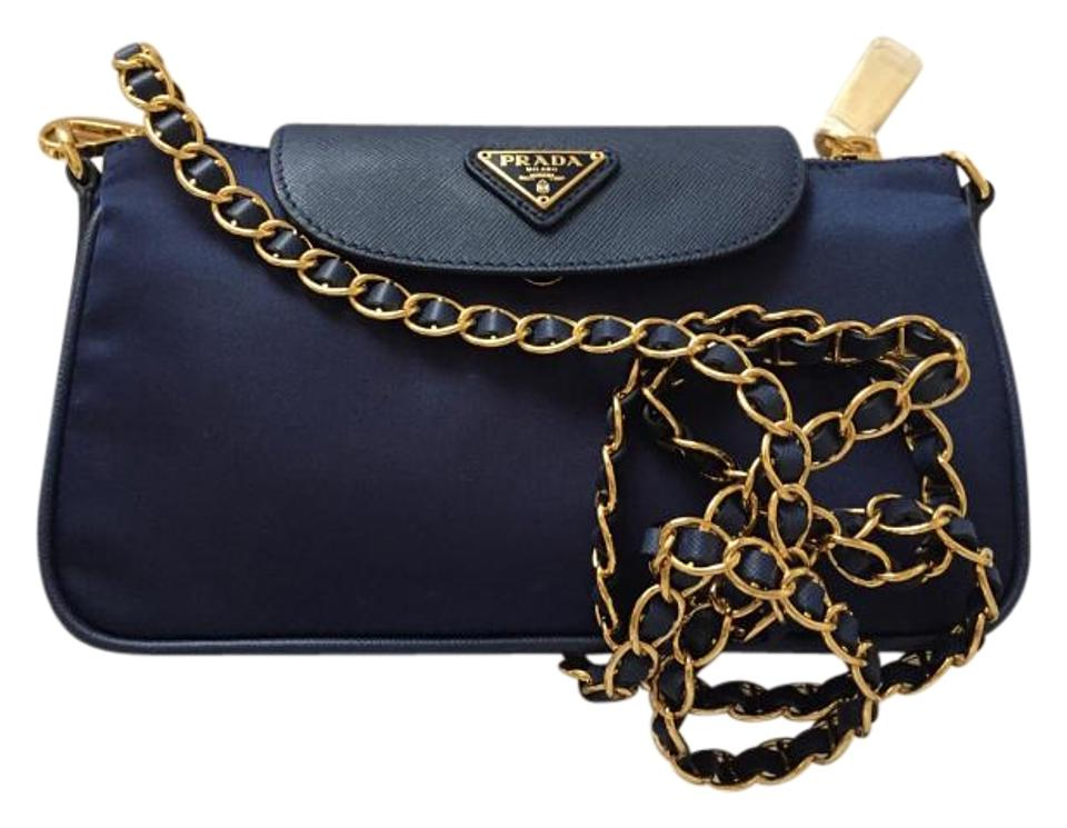 7431820ed93f Prada Tessuto Saffiano Clutch Sling Royal Blue Nylon Cross Body Bag ...