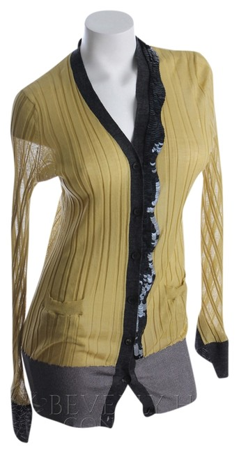 Vera Wang Rib Knit Sequin Cotton Wool Nylon Cardigan