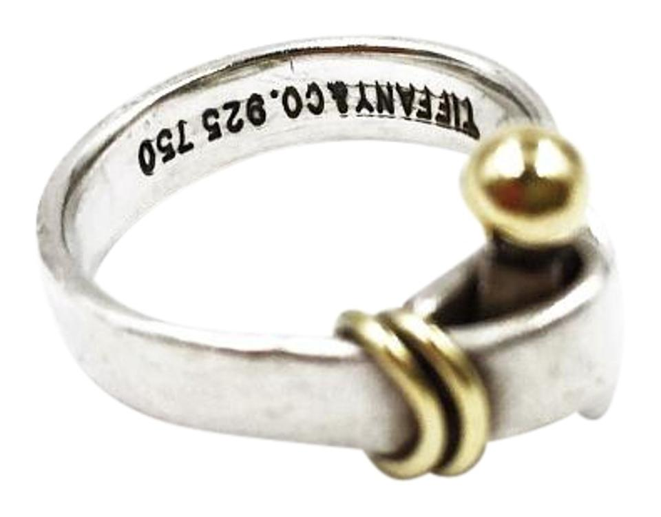 ec6c24175 Tiffany & Co. Rare 925 SILVER 18K YELLOW GOLD HOOK and EYE RING Image 0 ...