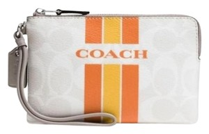 Coach Wristlet in Chalk/ Orange