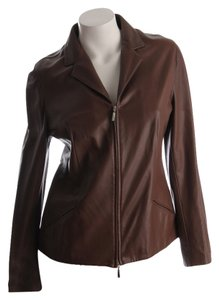 Piazza Sempione Leather Notched Collar Double Zip Size 44 brown Leather Jacket