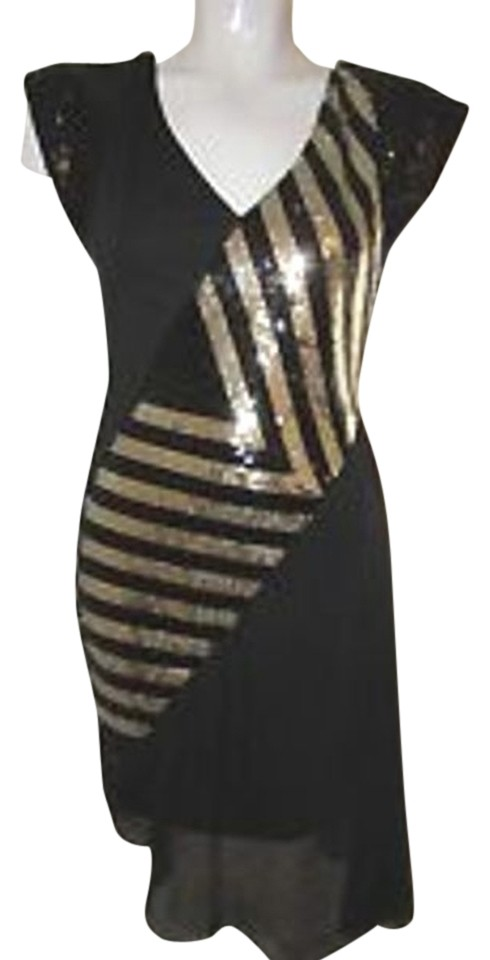 Bebe Black Gold Striped Sequin High Low Cocktail Dress Size 6 S