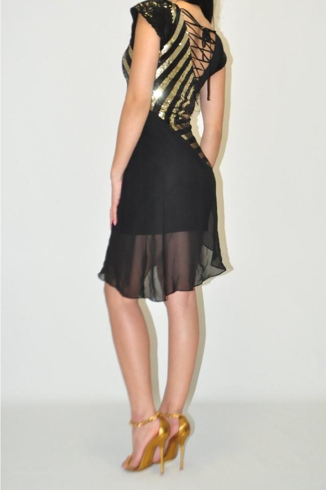 b423a4410d77 bebe Black & Gold Striped Sequin High-low Cocktail Dress Size 6 (S) -  Tradesy