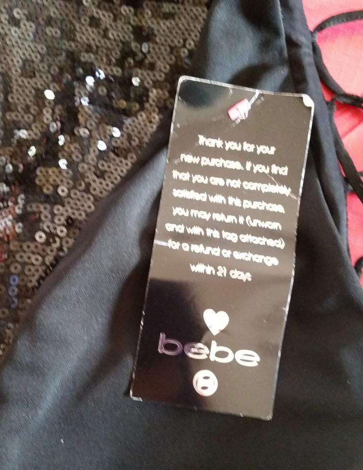 0c722505f601 bebe Black & Gold Striped Sequin High-low Cocktail Dress Size 6 (S ...