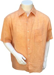 Salvatore Ferragamo Mens 100%linen Linen Button Down Shirt peach
