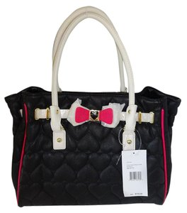 Betsey Johnson Black Quilted Heart Satchel in black/bone