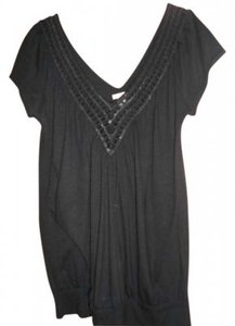 Studio Y Dressy V-neck Shirt Top Black