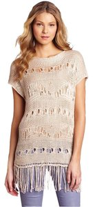 Anthropologie Crochet Open Knit Fringe Hem Tunic