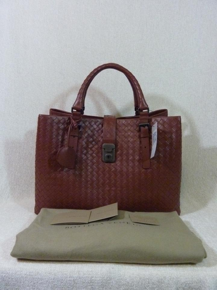 Russet Red Skin Satchel Leather Veneta Medium Roma Bottega Intrecciato Calf 4w1gP7n