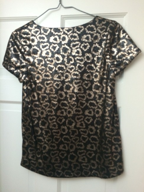 Romeo & Juliet Couture Leopard Bachelorette Chic Sequin Sparkle Glitter Top Black sequin