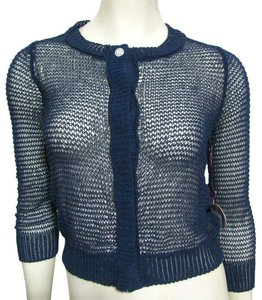 Vera Wang New Crocheted Shirt Mesh Xs 2 Sweater Navy Fishnet Jr Junior Cropped Cardigan