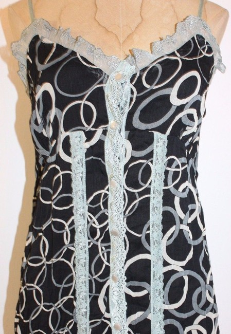 Anthropologie Lace Accent Printed Top BLACK