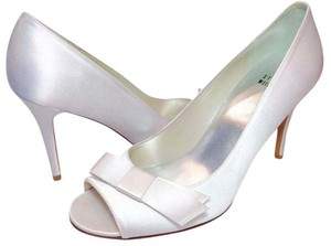 Stuart Weitzman Satin Leather Formal White Pumps