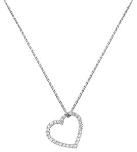 CRISLU NEW CRISLU Floating Heart Necklace, 5/8cttw CZ Sterling Silver Finished in Pure Platinum 16