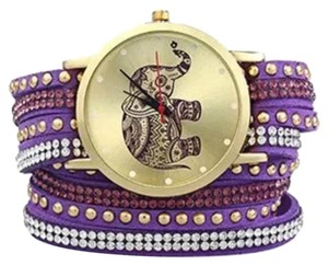 Elephant Purple Quartz Watch Bracelet. Quartz Watch