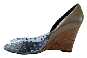 Donald J. Pliner Dito Snake Embossed Metallic Cork Wedges