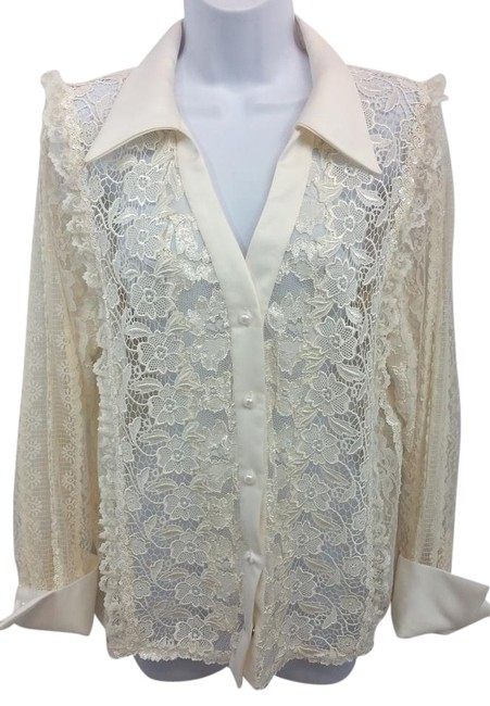 Preload https://img-static.tradesy.com/item/15948118/white-embellished-lace-blouse-m-button-down-top-size-8-m-0-1-650-650.jpg