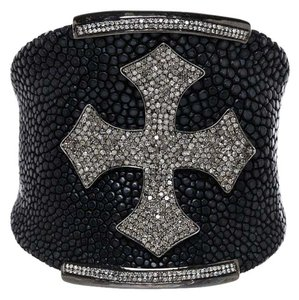 Julia Post Julia Post Black Stingray and 4.25ct Diamond Cross Cuff Bracelet