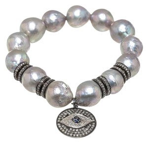 Julia Post Julia Post Tahitian Gray Pearls and Diamond Evil Eye Bracelet
