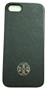 Tory Burch Robinson Iphone 5/5s Hardshell Saffiano Leather Black Smart Phone Case Gold Logo