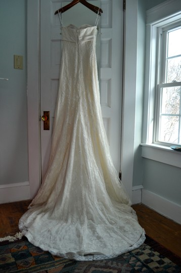 Pronovias Ivory Polyester Delphin Feminine Wedding Dress Size 2 (XS)