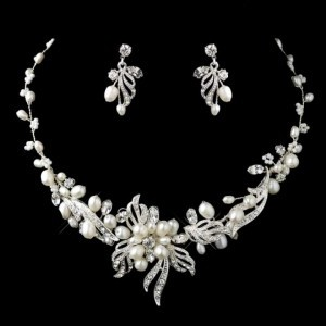 Elegance by Carbonneau Silver Freshwater Pearl Crystal Jewelry Set