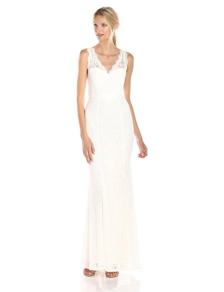 Adrianna Papell Ivory V Neck Lace Gown Casual Wedding Dress Size