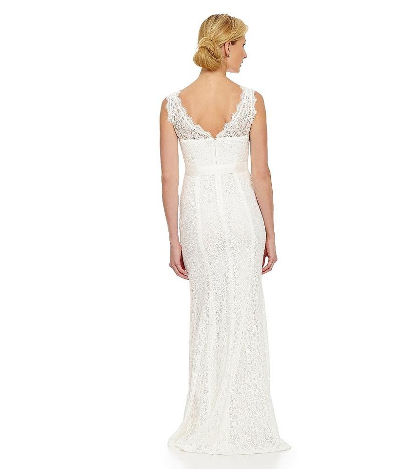 Adrianna papell v neck lace gown wedding dress wedding for Wedding dress on sale