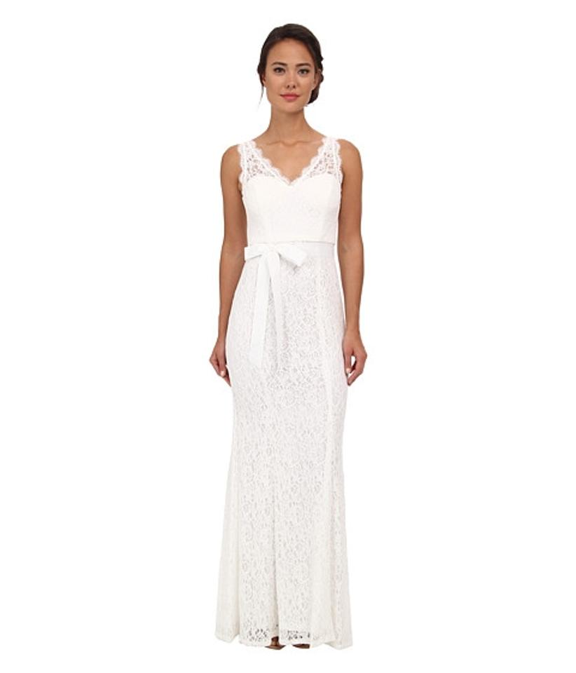 Adrianna Papell Ivory V-neck Lace Gown Casual Wedding Dress Size 14 ...