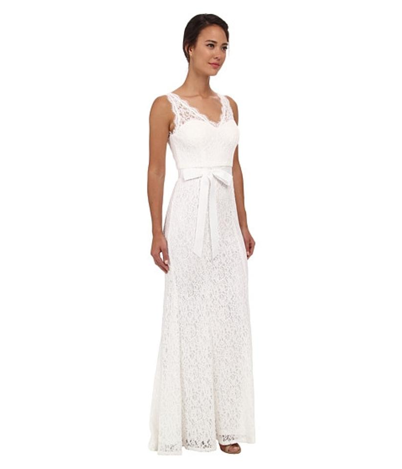 Adrianna papell ivory v neck lace gown casual wedding for Wedding dresses size 14