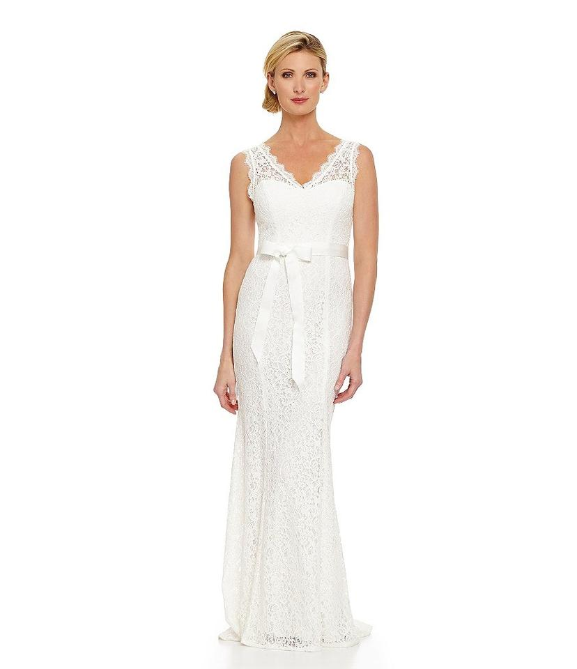 Adrianna papell ivory v neck lace gown casual wedding for Casual lace wedding dress