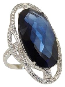 Victoria Wieck Victoria Wieck 17.81ct Created Sapphire and Pave' Sterling Silver Frame Ring - Size 10