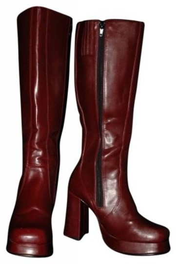Classified Knee Length Platform Thick Heel Burgundy Boots
