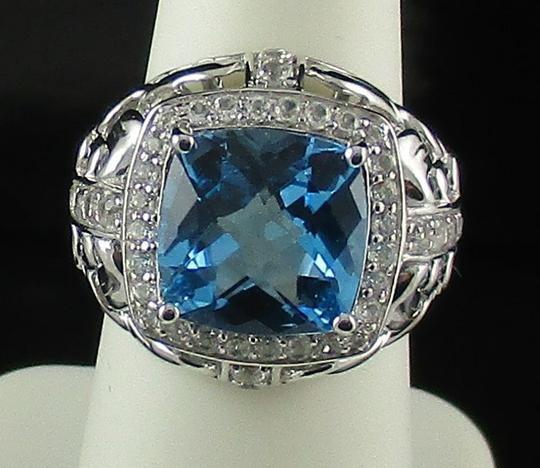 Victoria Wieck Victoria Wieck 5.98ct Swiss Blue Topaz and White Topaz Frame Ring - Size 6