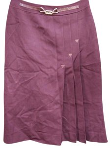Céline Wool Pleated Skirt Burgundy