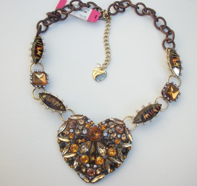 Item - Bronze New 'hollywood Glam' Large Heart Statement Tone Leopard Print B09173 Necklace