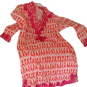 Haute Latitude short dress Tangerine Ikat & Hot pink embroidery on Tradesy
