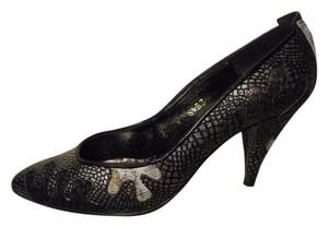 Beverly Feldman Leather Reptile Pbo silver & black multi Pumps