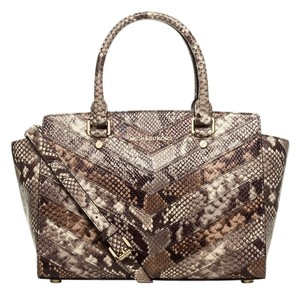 Michael Kors Selma Top Zip Leather Satchel in Natural Multi Python