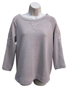 Garnet Hill Embridered Sweatshirt 3/4 Sleeve Summer Casual Sweater