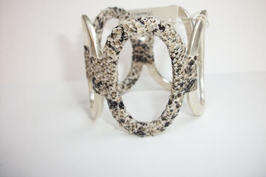Kenneth Cole Kenneth Cole Bracelet 'Urban Snake' Python Print Wrapped Silver Tone Hinged Cuff