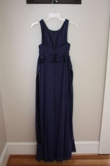 David's Bridal Navy Chiffon and Charmeuse (Polyester) Rounded Neckline Style F12732 Formal Bridesmaid/Mob Dress Size 2 (XS)