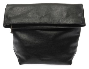 Jil Sander Crush Crumpled Soft Huggable Black Clutch