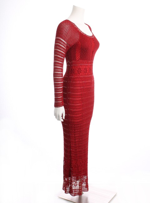 Chetta B. by Sherrie Bloom and Peter Noviello B. Open Weave Longsleeve Maxi Sheer Fully Lined Knit Dress