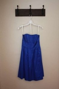 David's Bridal Blue (Horizon) Cotton Sateen Strapless with Ruching and Pockets Style 83312 Casual Bridesmaid/Mob Dress Size 2 (XS)