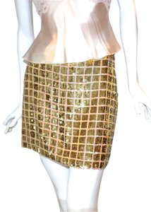 Moda International Sequin Mini Skirt Gold/Peach