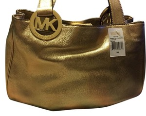 Michael Kors Soft Leather Mk Tote in Gold